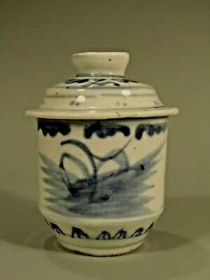 Chinese Blue and White Porcelain Cup/Jar with Lid Qing Dynasty ca. 19th century
