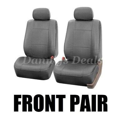 Front Grey Leather Look Car Seat Covers Pair For Ferrari 488 GTB 2016 On