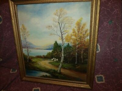 Antique early-20th century Original Americana Oil Painting by Delphia Whitaker