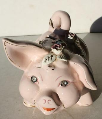 Pig Figurine Pink Piggy Bank w-Rhinestone Eyes 3-D Flowers Royal Sealy Japan-VTG