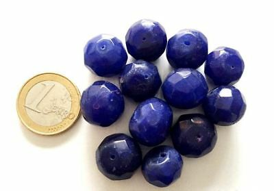 Lot 12 Big Natural Sapphire Handmade Carved Faceted Beads - Cuentas Antigua