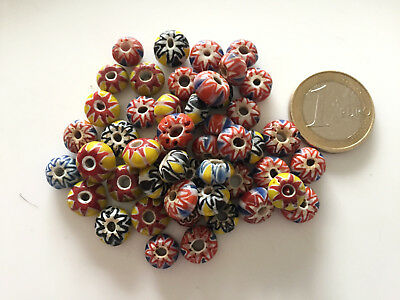 Lot 48 Old Islamic Chevron Glass Beads - Handmade
