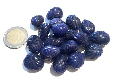Lot 18 Natural Sapphire Hand Carved Leaf Beads - Handmade