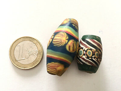 Lot 2 Ancient Islamic Mosaic Beads - Handmade from Pakistan