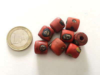 Lot 8 Old Islamic Face Hand Carved Amulet Glass Beads - Handmade