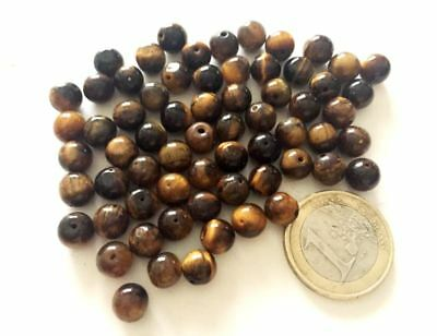Lot 66 Old Natural Eye of the Tiger Round Beads From afghanistan - Handmade