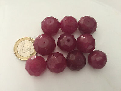 Lot 10 Big Natural Ruby Handmade Carved Faceted Beads - Cuentas Antigua Abalorio