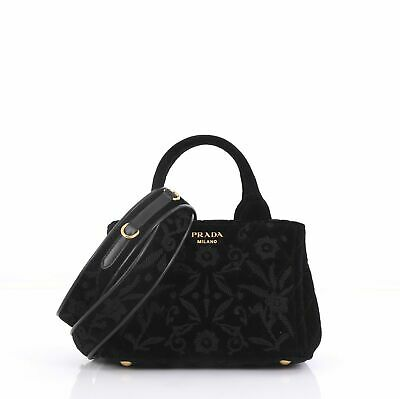 b89cb51aecf214 PRADA CONVERTIBLE OPEN Tote Quilted Embroidered Velvet Mini ...