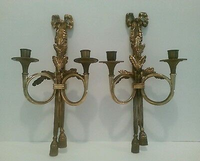 Vintage Pair Double Arm French Rococo Style Wall Sconce Candle Holder
