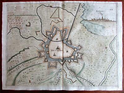 Béthune France Europe 1673 Priorato city plan with birds-eye view map