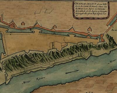 Charle-Mont de Fer Meuse river c.1700 fortified city plan map