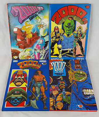 4 x Vintage 2000AD Judge Dredd Fleetway Annuals, 1979, 1981, 1985 & 1989.