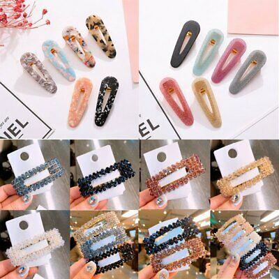 Charm Crystal Women Hair Slide Clips Snap Barrette Hairpin Hairband Accessories