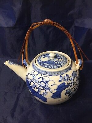 Vintage Old Oriental Blue White Tea Pot China Strainer Wicker Handle