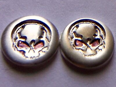 (2) .65 Gram Angry Skulls .999 Solid Fine Solid Silver Bullion Free Shipping Bu!