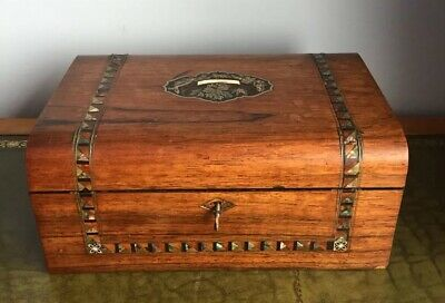 Antique Victorian Rosewood Dome Topped Mother Of Pearl Inlaid Work Box