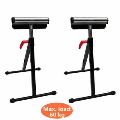 2pc Heavy Duty Adjustable Workshop Roller Stand Bench Saw Folding 60kg Capacity