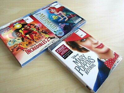 New 2019 Disney Classic Blu-Ray Movies Little Mermaid Mary Poppins Incredibles 2