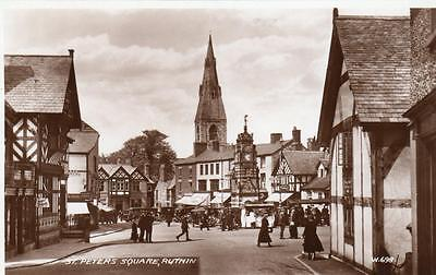 St Peter's Square Ruthin unused RP old pc 1939 Valentines