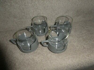 Vintage set of 4 Pyrex AJA small glass tumblers in grey holders 1960s/70s