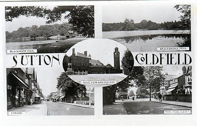 Sutton Coldfield Multi View sepia  unused RP old postcard Good condition
