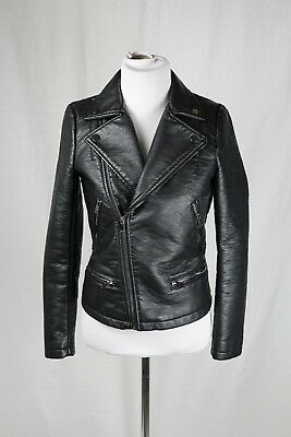 64042b1f9b NWT ZARA BASIC Women's Blue Leather Moto Jacket, Sizes XS-M - $54.00 ...