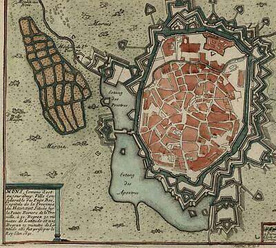 Mons Belgium Hainaut by N. de Fer c.1700 attractive fortified city plan map