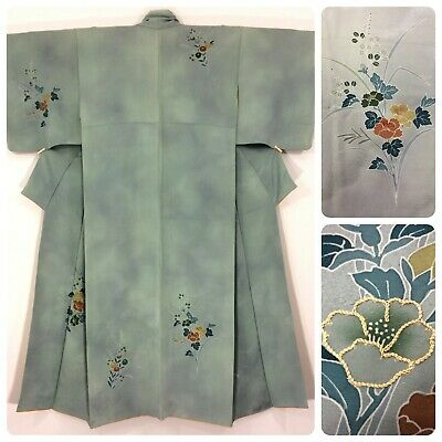Japanese women's kimono, sage green, flowers, medium, short, Japan import(W2495)
