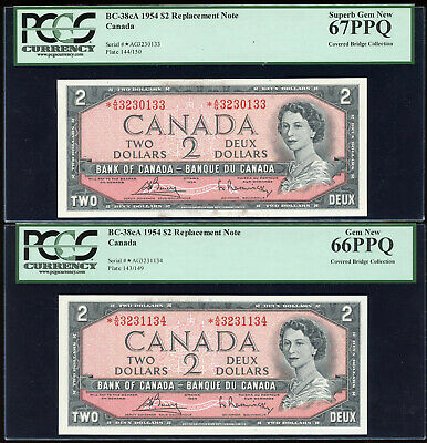 2 Consecutive 1954 Bank of Canada $2 Replacement Notes - PCGS Superb Gem 66 & 67
