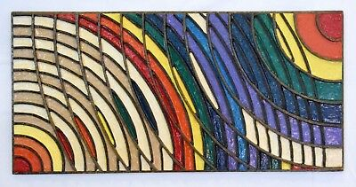 Abstract resin painting on wood, great texture and relief. midcentury rainbow.