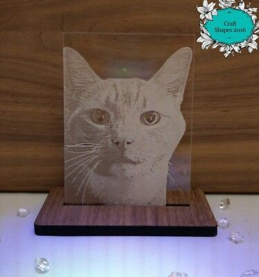 Personalised Custom Photo / Picture Engraved Acrylic Plaque / Block and Stand