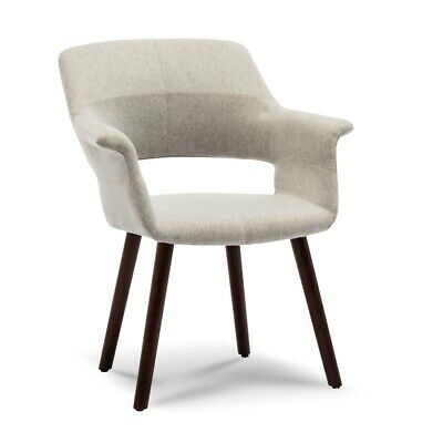 Accent Chair Living Room Mid-Century Style Padded Armrest with Wooden Legs, Gray