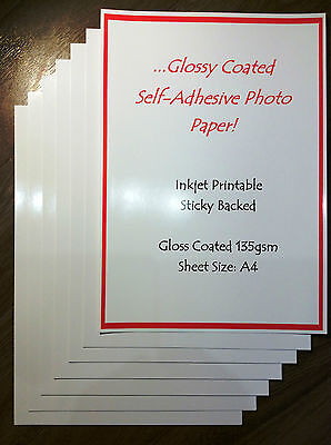 A4 GLOSS SELF ADHESIVE PAPER INKJET PRINTABLE GLOSSY STICKY BACK 135gsm 10SHEETS