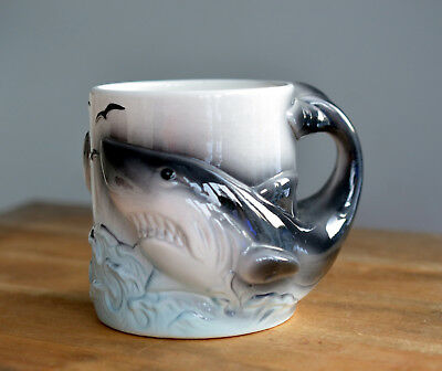 ULTRA RARE Vintage SEA WORLD Indonesia 3D SHARK Coffee Tea Cocoa Mug BIG SIZE