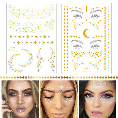 2pcs Waterproof Temporary Body Tattoo Stickers Star Moon Face Pattern DIY Decals
