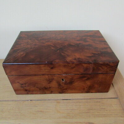 burr walnut box with two interior lidded compartments