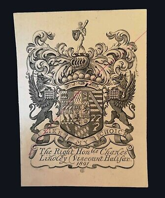 1891 Armorial bookplate of Charles Lindley, Viscount Halifax