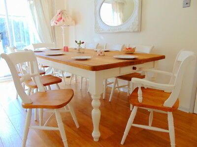 PINE Farmhouse Dining Table & 8 Chairs FRENCH Country Farrow Ball UK DEL 💚