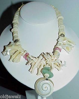 Branch Coral Necklace Shell Quartz Green Pink Handmade Antique Runway Massive
