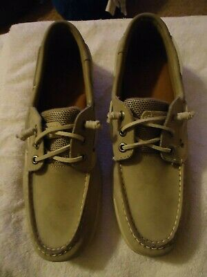 Sperry Topsiders Leather & Canvas Boat Shoes with Memory Foam size 8.5