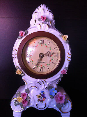 Lovely vintage German Mercedes porcelain mantel clock, Dresden, working