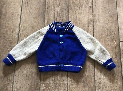 New hand knitted boys blue and beige baseball jacket size 9-12 months