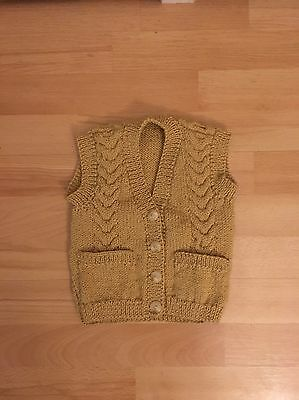 New hand knitted baby boys Caramel waist coat with pockets size 12-18 months
