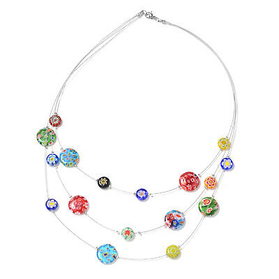 "Murano Millefiori Glass Stainless Steel Round Glass Necklace 18"" Ct 65"