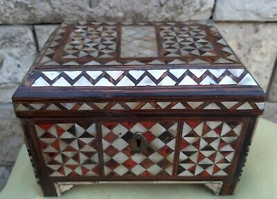 Rare Antique Ottoman Turkish Jewelry Wood Box Mother Pearl Inlay C Tortoise