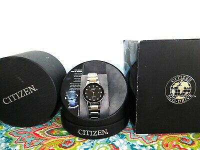 New Citizen Axiom GA1050-51G Eco-Drive Black Dial Diamond Stainless Womens Watch