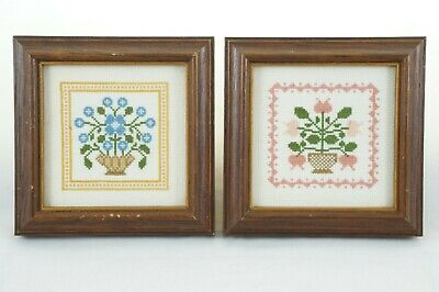 """2 Miniature Floral Cross Stitch Framed Completed For Doll House 4.25"""" x 4.25"""""""