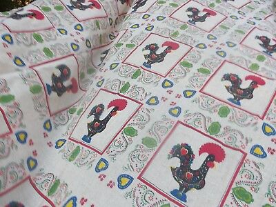 """40 """"x 67"""" PORTUGAL portuguese GOOD LUCK black ROOSTER linen flax TABLECLOTH"""