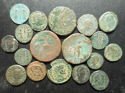 Lot of 18 VF to VF+ Ancient Roman Coins: She Wolf, Augustus AS, Diocletian!