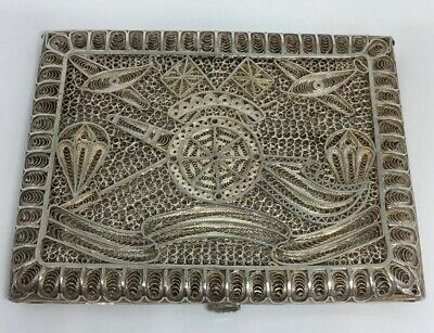 Exceptional Indian Solid Silver Filigree Military Cigarette Card Case